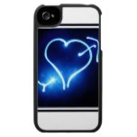 Blue Light Heart  iPhone 4 Case